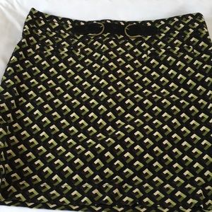 🔥3 for 18 Green & Brown Geo Print Corduroy Skirt